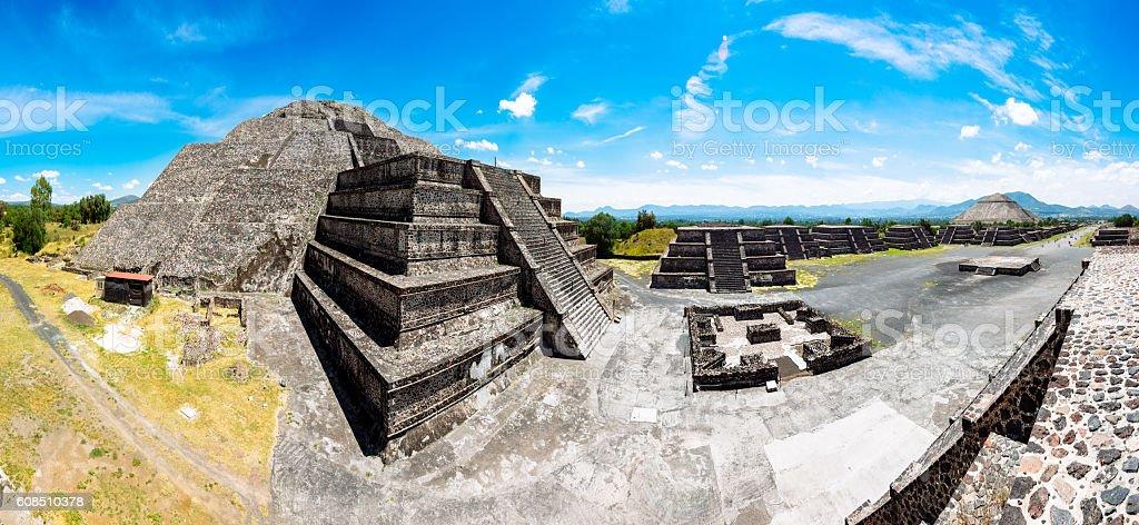 Panoramic View of Teotihuacan Pyramids Mexico stock photo