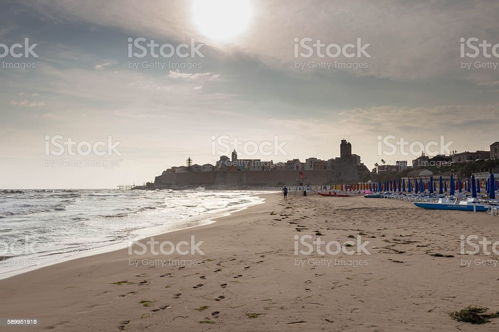 Panoramic view of Termoli in the morning stock photo