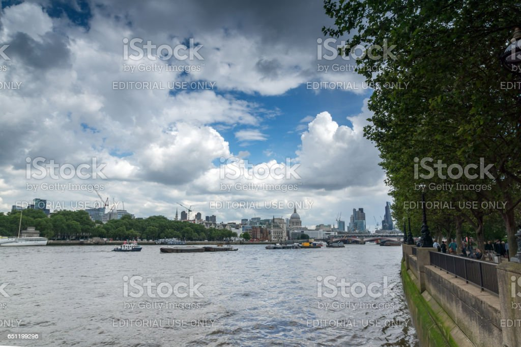 LONDON, ENGLAND - JUNE 15 2016: Panoramic view of Thames river and City of London stock photo