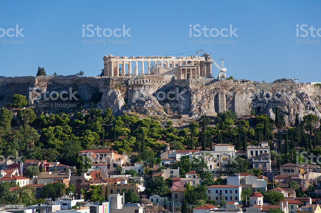 Panoramic view of the Acropolis in Athens. Greece. stock photo