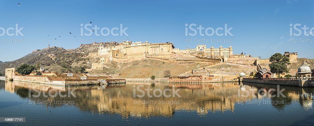 Panoramic view of the Amber fort Jaipur India royalty-free stock photo
