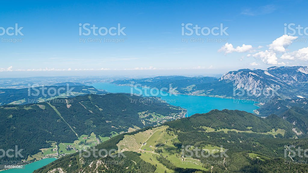 panoramic view of the Austrian Alps, St. Wolfgang, Austria stock photo