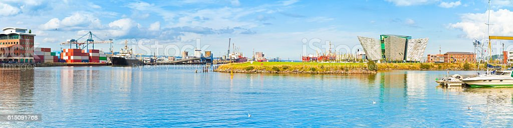 Panoramic view of the Belfast's harbour stock photo