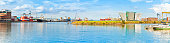 Panoramic view of the Belfast's harbour