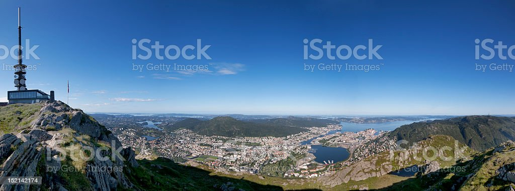 Panoramic view of the Bergen sea fjords landscape stock photo