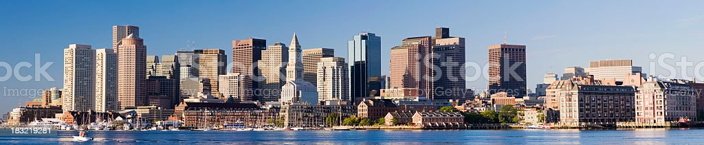 Panoramic View of the Boston City Skyline in the USA royalty-free stock photo