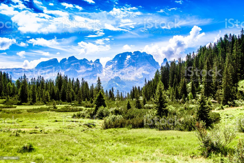 Panoramic view of the Brenta Dolomites stock photo