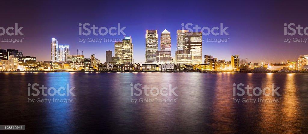 Panoramic View of the Canary Wharf City Skyline London UK stock photo