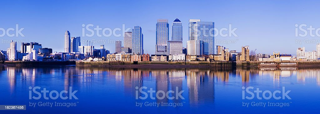 Panoramic View of the Canary Wharf City Skyline London UK stock photo