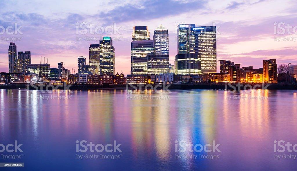 Panoramic View of the Canary Wharf London City Skyline stock photo