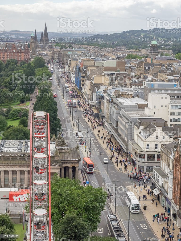 Panoramic view of the centre of Edinburgh stock photo