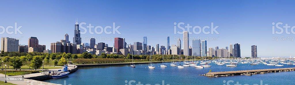 Panoramic View of the Chicago City Skyline USA stock photo