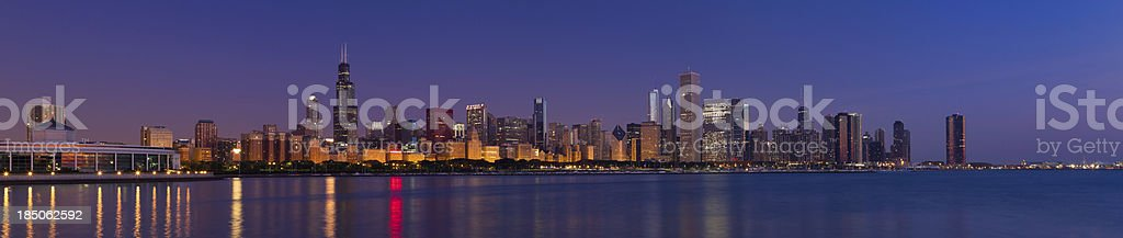 Panoramic View of the Chicago Skyline at Dawn stock photo