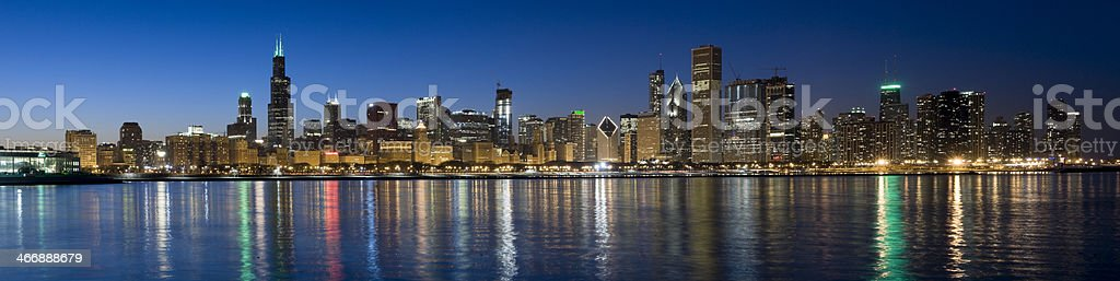 Panoramic View of the Chicago Skyline at Dusk (XXXL) stock photo