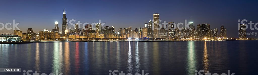 Panoramic View of the Chicago Skyline at Night (XXXL) royalty-free stock photo
