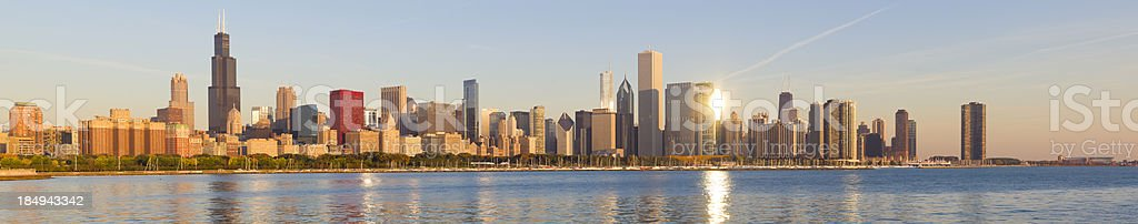 Panoramic View of the Chicago Skyline at Sunrise stock photo
