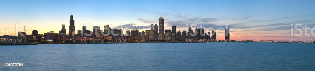 Panoramic View of the Chicago Skyline at Sunset (XXXL) stock photo