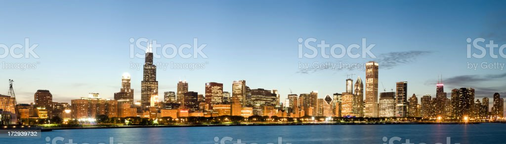 Panoramic View of the Chicago Skyline at Sunset (XXL) royalty-free stock photo