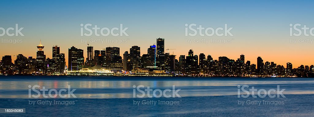 Panoramic view of the city lights of Vancouver, Canada stock photo