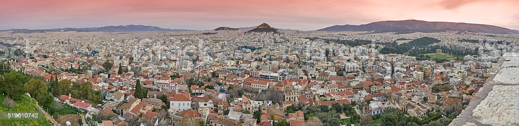 Panoramic View of The City of Athens stock photo