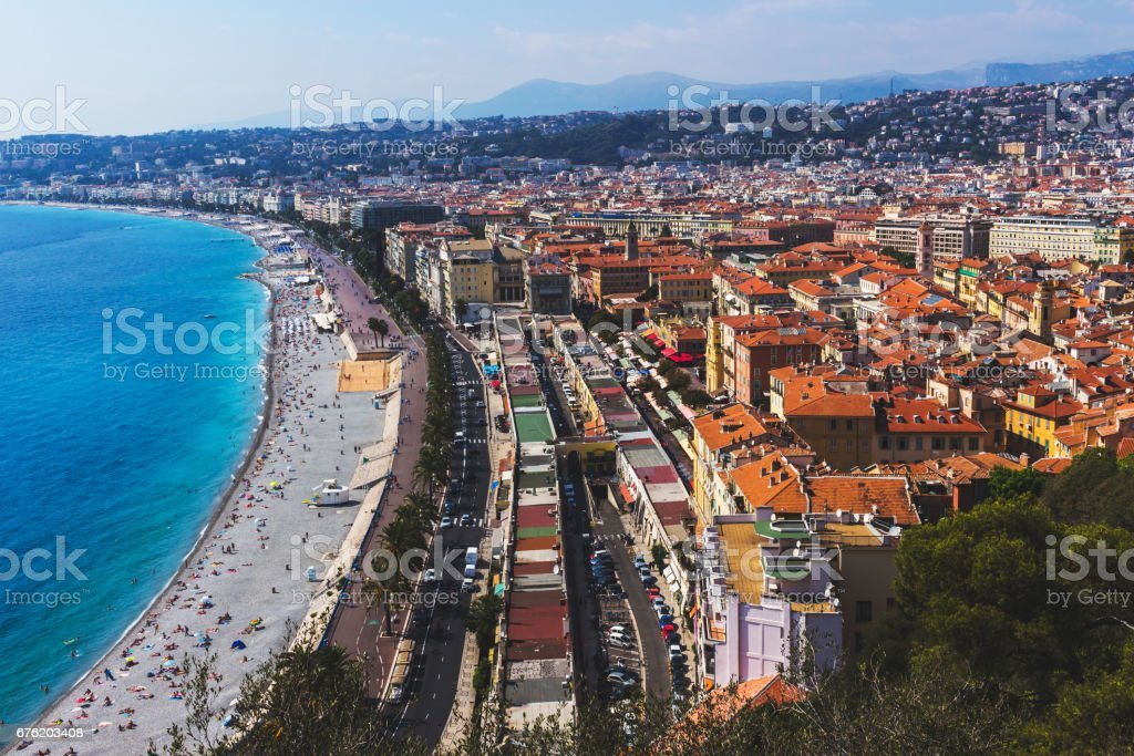 A panoramic view of the city of Nice, France. Picture taken September 2016 stock photo
