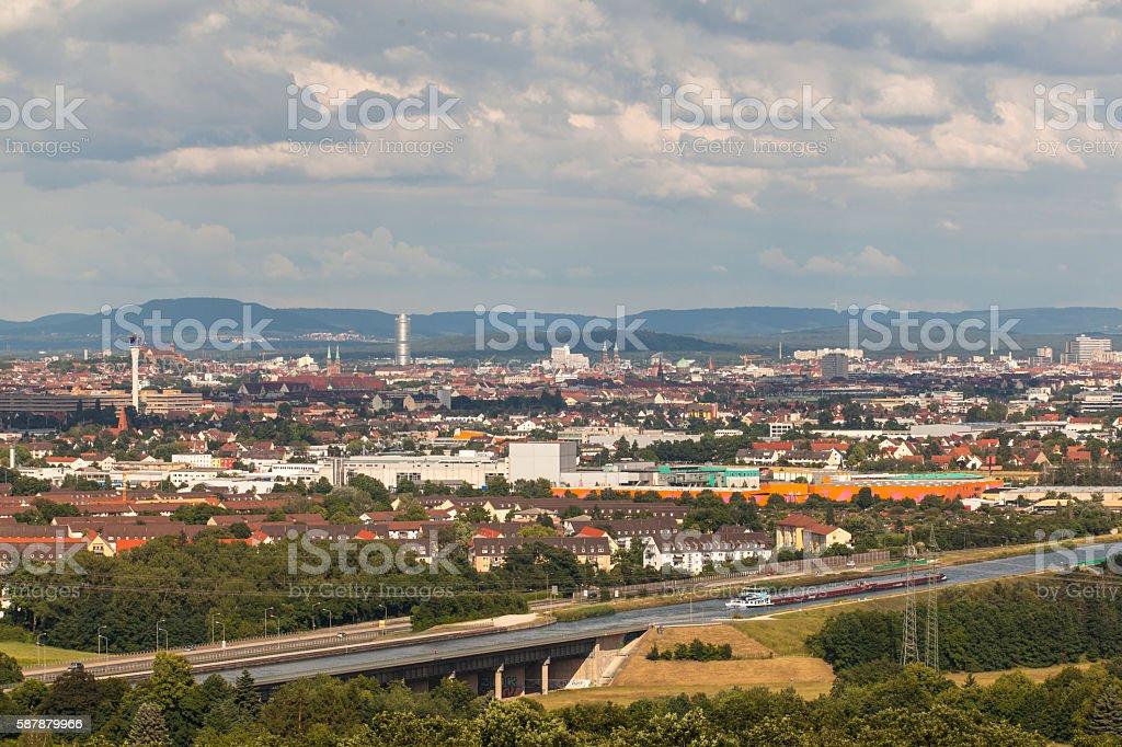 panoramic view of the city of Nuremberg stock photo
