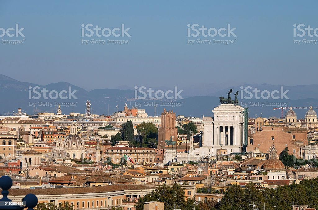 Panoramic view of the city of Rome stock photo