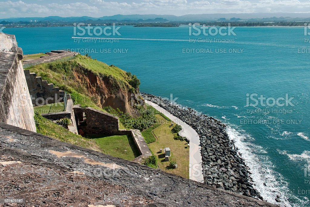 Panoramic view of the coastline from El Morro Fortress stock photo