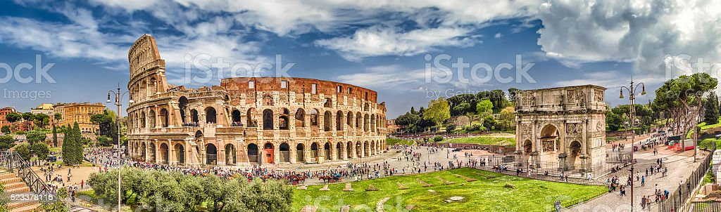 Panoramic view of the Colosseum and Arch of Constantine, Rome stock photo