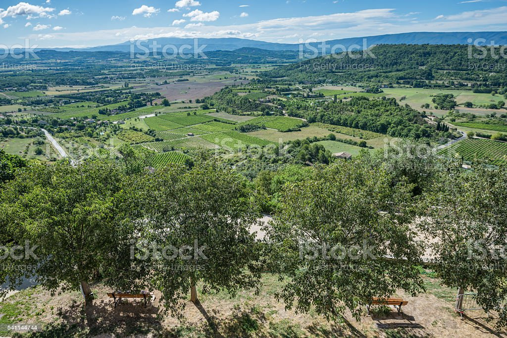 Panoramic view of the cultivated and green landscape of Provence stock photo