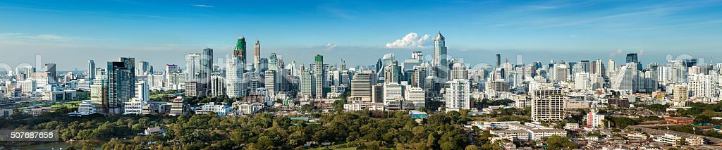 Panoramic View of the Downtown Bangkok City Skyline Thailand stock photo