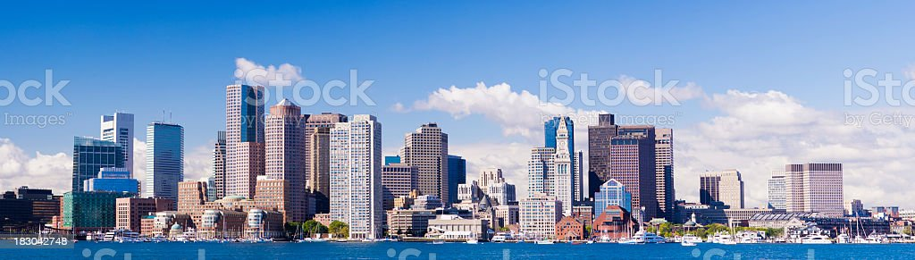 Panoramic View of the Downtown Boston City Skyline USA stock photo