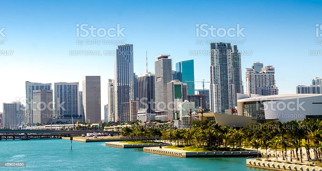 Panoramic view of the downtown Miami skyline, Florida, USA. stock photo
