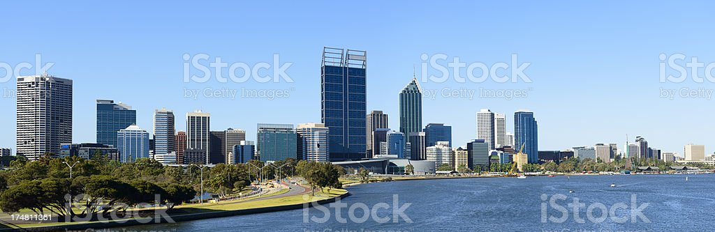 Panoramic View of the Downtown Perth City Skyline in Australia royalty-free stock photo