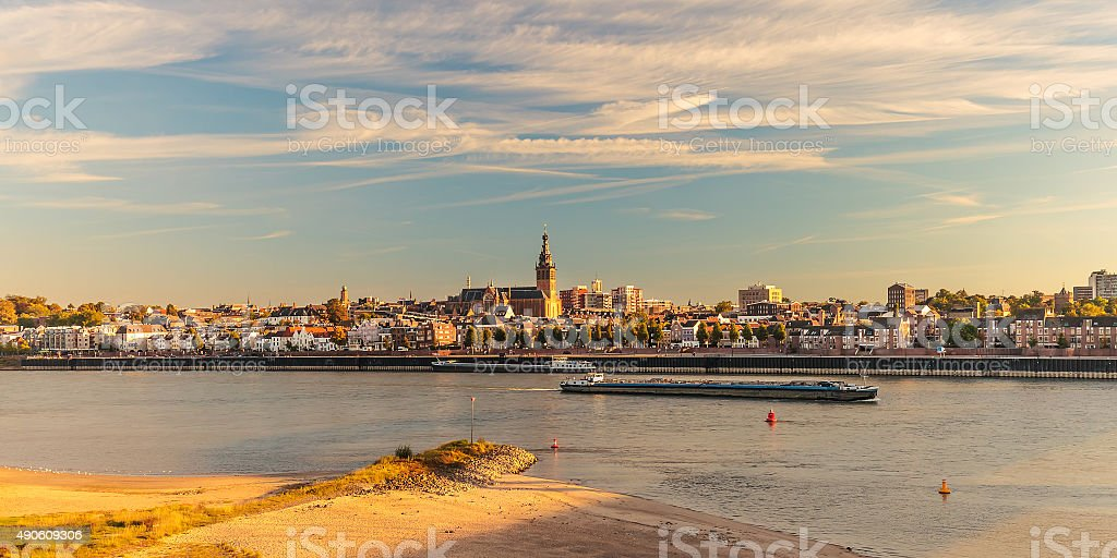 Panoramic view of the Dutch city of Nijmegen during sunset stock photo