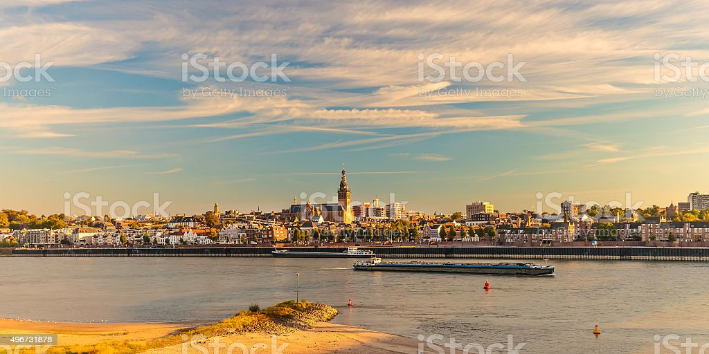 Panoramic view of the Dutch city of Nijmegen stock photo