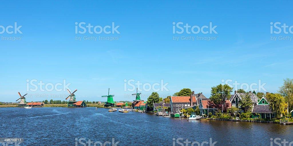 Panoramic view of the Dutch Zaanse Schans stock photo