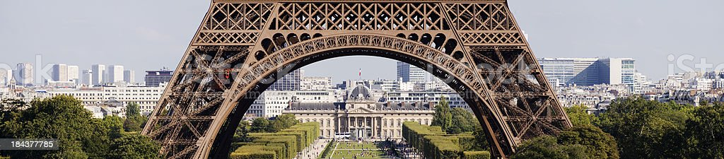 Panoramic View of The Eiffel Tower in Paris France royalty-free stock photo