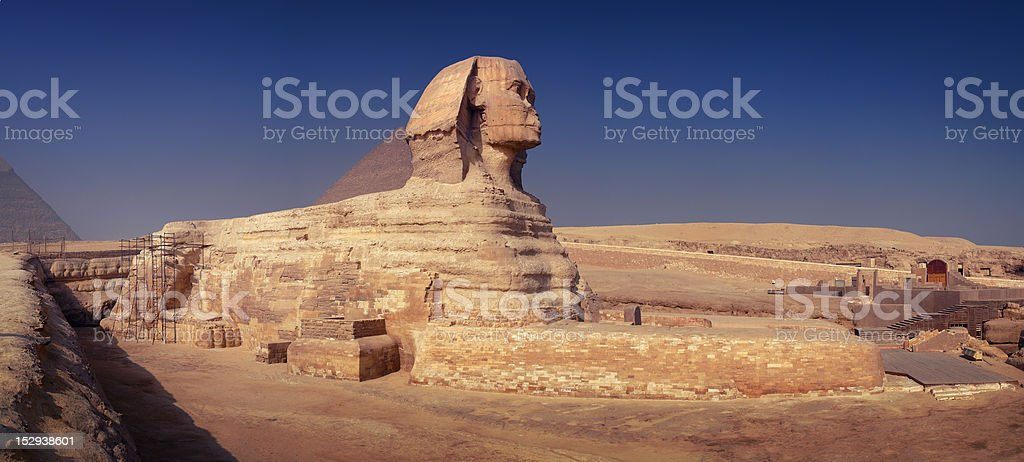 Panoramic View Of The Great Sphinx stock photo