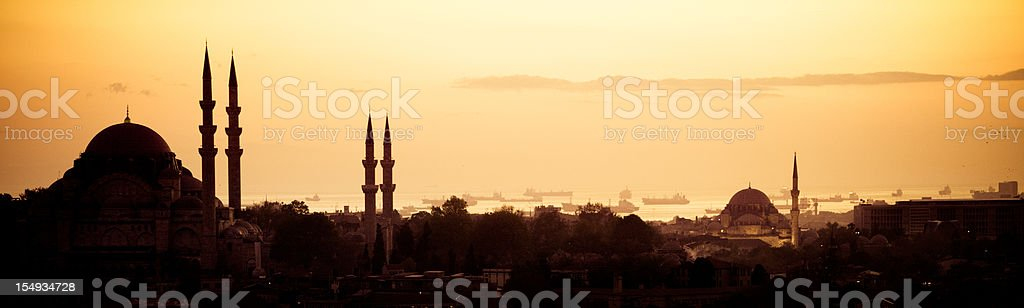 Panoramic view of the Hagia Sofia in Istanbul at sunset stock photo