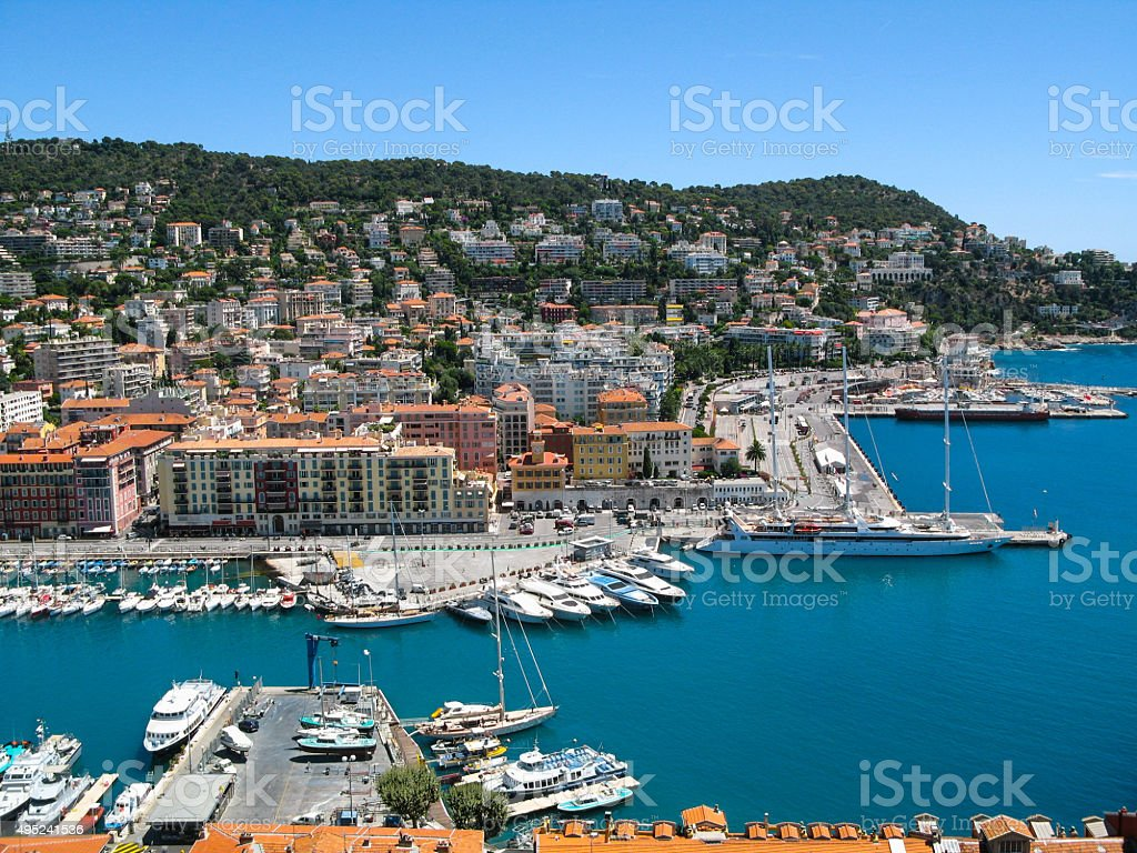 Panoramic view of the harbor in Nice, France. stock photo