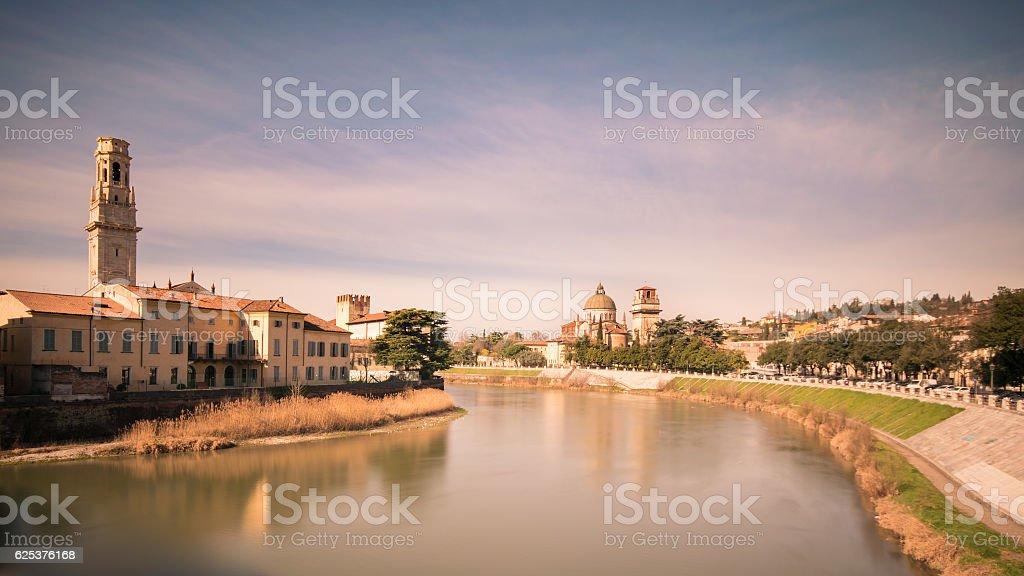 Panoramic view of the historic center of Verona. stock photo