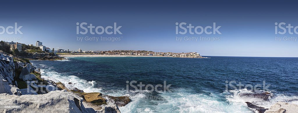 Panoramic view of the iconic Bondi Beach, Sydney, NSW, Australia royalty-free stock photo