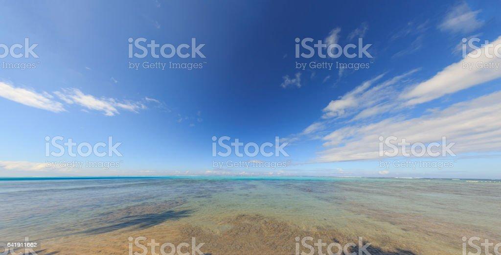 Panoramic view of the idyllic sea in Moorea Island in French Polynesia stock photo