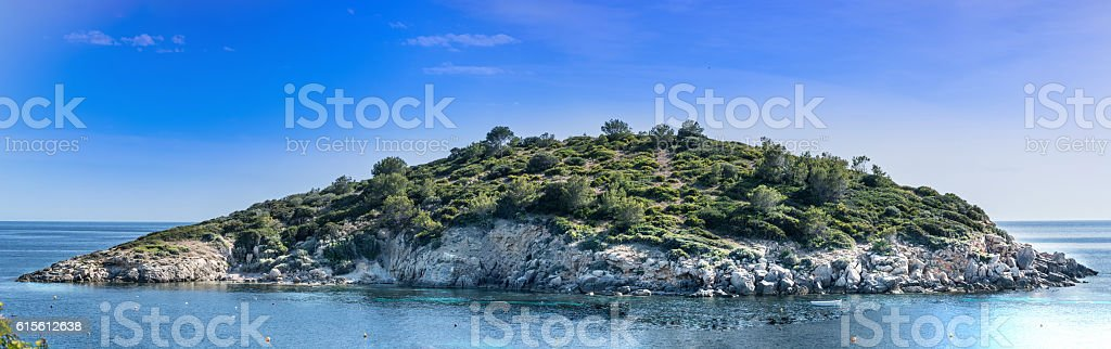 Panoramic view of the island Es Pantaleu stock photo