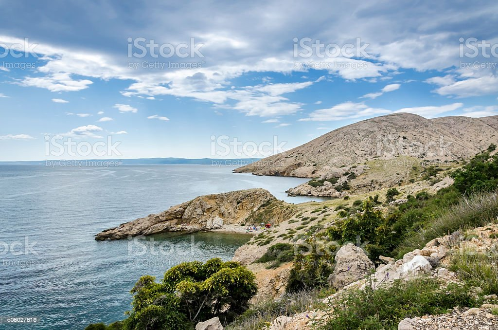 Panoramic view of the Island Krk, Croatia stock photo
