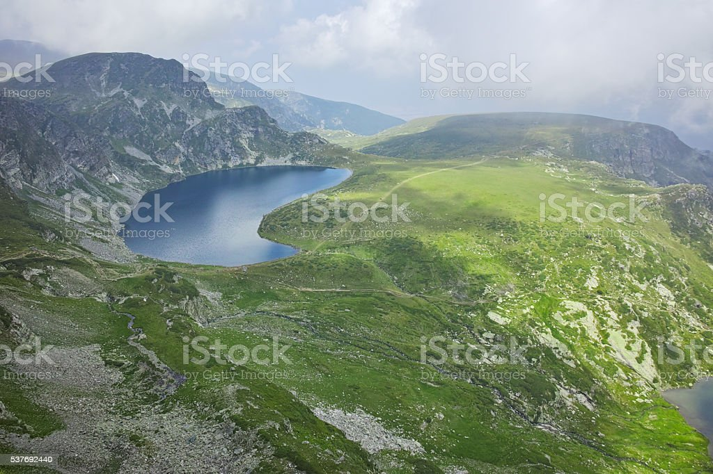 Panoramic view of The Kidney lake, The Seven Rila Lakes stock photo