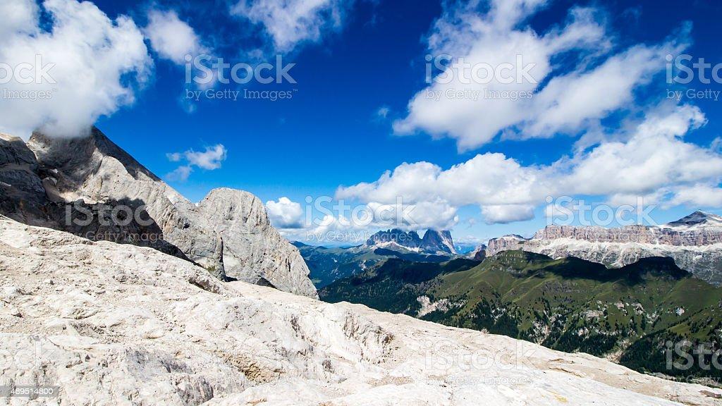 panoramic view of the Langkofel and Sella group, Dolomites stock photo
