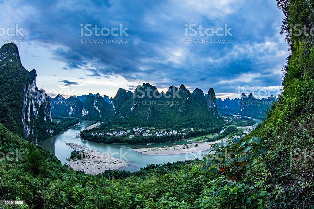 Panoramic view of the Li River near Yangshuo stock photo