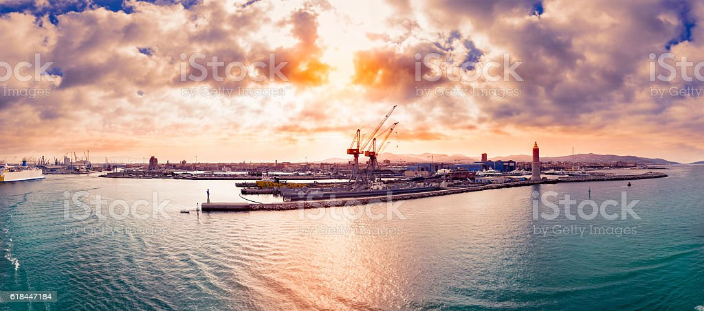 panoramic view of the livorno port stock photo